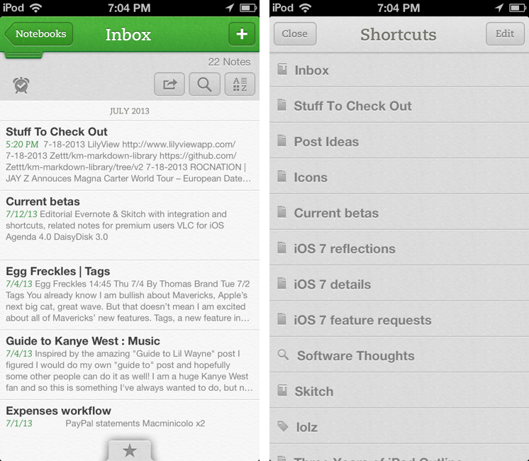 Evernote 5.4 for iOS